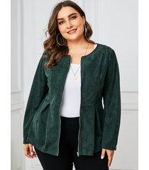 yoins plus abrigo de manga larga con cremallera frontal verde militar del tamaño