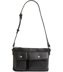 mali + lili miya double pocket vegan leather convertible shoulder bag - black