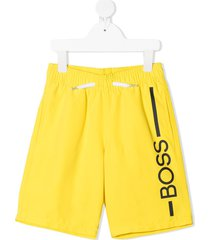 boss kidswear logo-print drawstring swim shorts - yellow