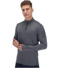 blusão adidas response 1/2 zip long sleeve - masculino - cinza