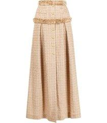 elisabetta franchi tweed fringe-trimmed skirt - neutrals