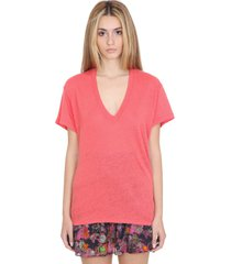 iro heloise t-shirt in red linen