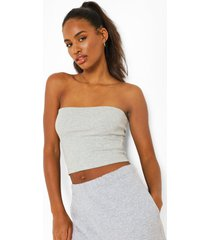 long line bandeau top, grey marl