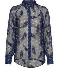 pzgertrud shirt blus långärmad blå pulz jeans