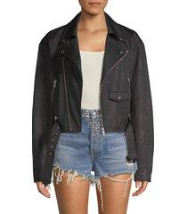 the kooples women's faux leather moto jacket - black - size 3 (l)