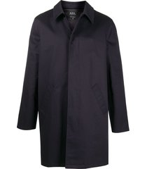 a.p.c. button-up long-sleeved coat - blue