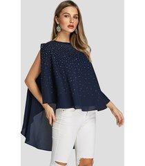 blusa superpuesta de manga dividida con diamantes de imitación brillante azul marino