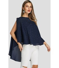 blusa superpuesta de manga dividida con pedrería brillante azul marino