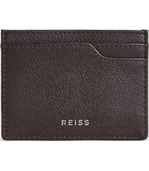 reiss charlie - pebble grained leather card holder in berry, womens