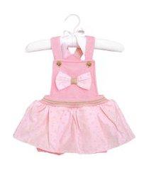 macacáo curto sonho mágico tecido lacinho jardineira rosa