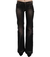 washed ripped low waist boot cut jeans