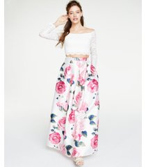 teeze me juniors' 2-pc. off-the-shoulder lace & floral gown, created for macy's