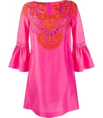 alberta ferretti embroidered kaftan dress - pink