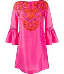 alberta ferretti embroidered kaftan dress - pink