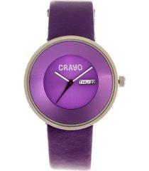 crayo unisex button purple genuine leather strap watch 40mm