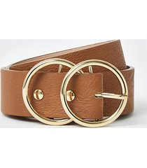 river island womens brown leather double ring buckle belt