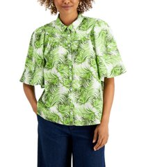 charter club petite oversized tropical button-down top, created for macy's