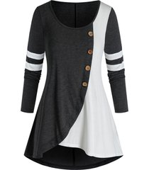 plus size contrast two tone curved tunic tee
