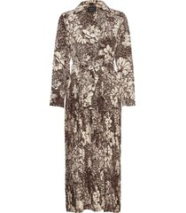 slfzuri-florenta ls aop ankle dress maxiklänning festklänning grå selected femme