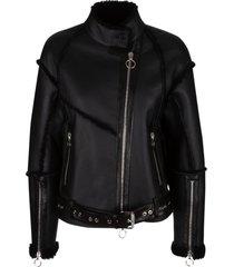 drome fur applique biker jacket