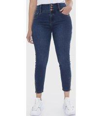 jeans pitillo 3 botones azul lorenzo di pontti