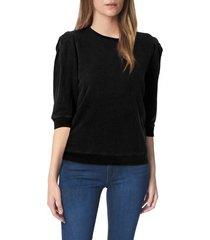 women's joe's puff sleeve sweatshirt, size large - black