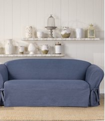 sure fit authentic denim one piece t-cushion sofa slipcover