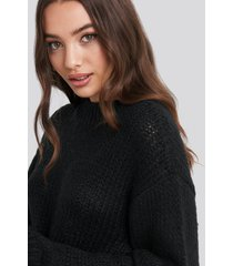 na-kd balloon sleeve oversized knitted sweater - black