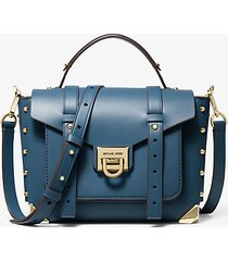 mk borsa a mano manhattan media in pelle - chambray scuro - michael kors