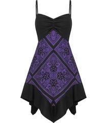 printed back zipper cami plus size dress