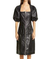 women's ganni puff sleeve leather dress, size 8 us - black