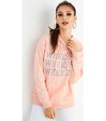 sudaderas con capucha de bolsillo de canguro con diseño de cordón de letra rosa