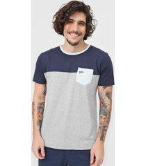 camiseta yachtsman bolso azul-marinho/cinza