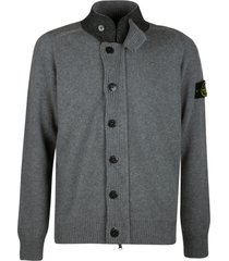 stone island high-neck logo patched button cardigan