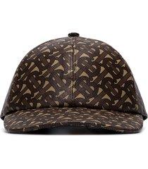 burberry monogram-print baseball cap - brown