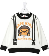 a bathing ape® milo suspenders printed sweatshirt - white