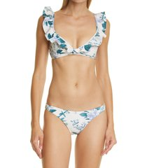 zimmermann cassia frill floral print two-piece bikini, size 1 in hydrangea floral at nordstrom