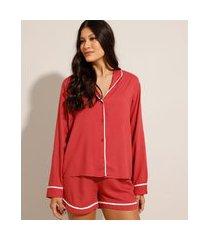 camisa pijama manga longa com vivos contrastantes coral