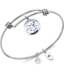 unwritten bird charm bangle bracelet in stainless steel with silver-plated charms