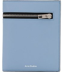 acne studios zipped detail tri-fold wallet - blue
