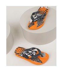 chinelo infantil havaianas top athletic fc estampado laranja
