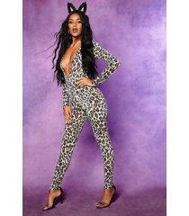 halloween leopard plunge long sleeve jumpsuit, brown