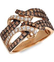 le vian women's 14k strawberry gold®, chocolate diamond® & vanilla diamond® ring/size 7 - size 7