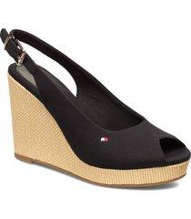 iconic elena sling back wedge sandalette med klack espadrilles svart tommy hilfiger