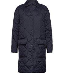 darlene quilted jacket gevoerde lange jas blauw lexington clothing