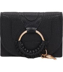 see by chloé hana compact wallet in black leather