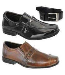 kit 2 pares de sapato social infantil couro e 1 cinto leoppé
