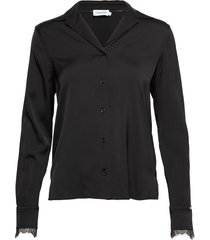 ls lace trim blouse blouse lange mouwen zwart calvin klein