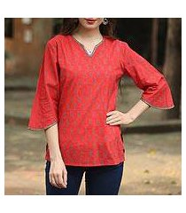 beaded cotton tunic, 'crimson delhi' (india)