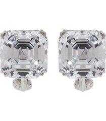 cubic zirconia square stud earrings